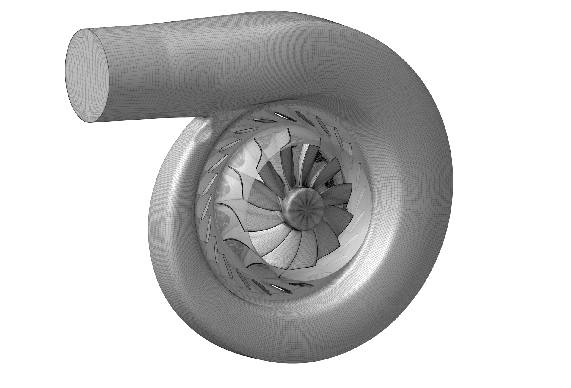 Figure 1: CFD Model of the investigated radial turbine