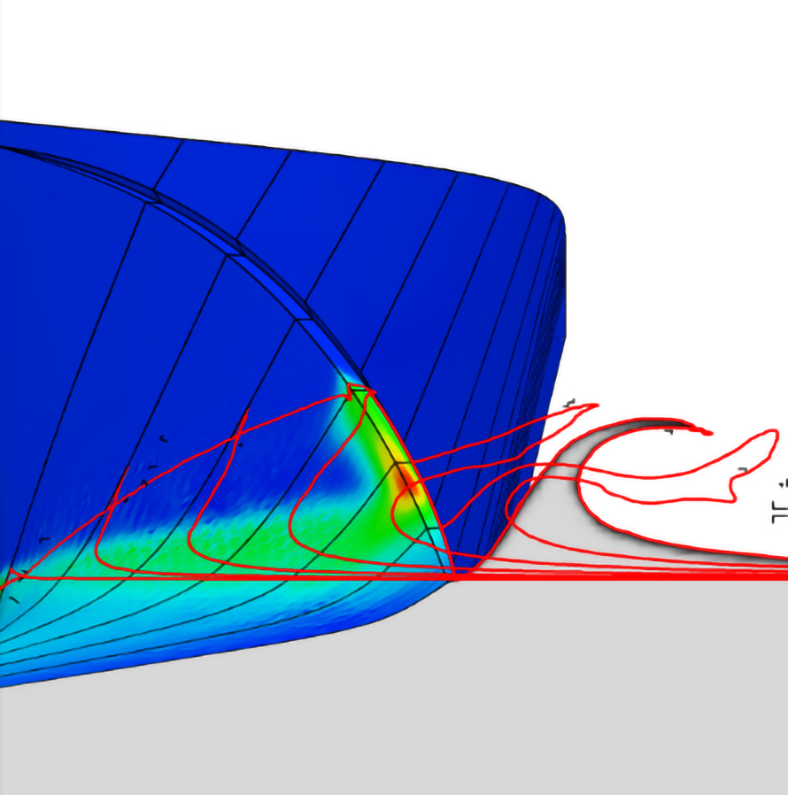 Figure 2: Bow wave profile at various hull stations and hydrodynamic pressure on the hull at 55 knots