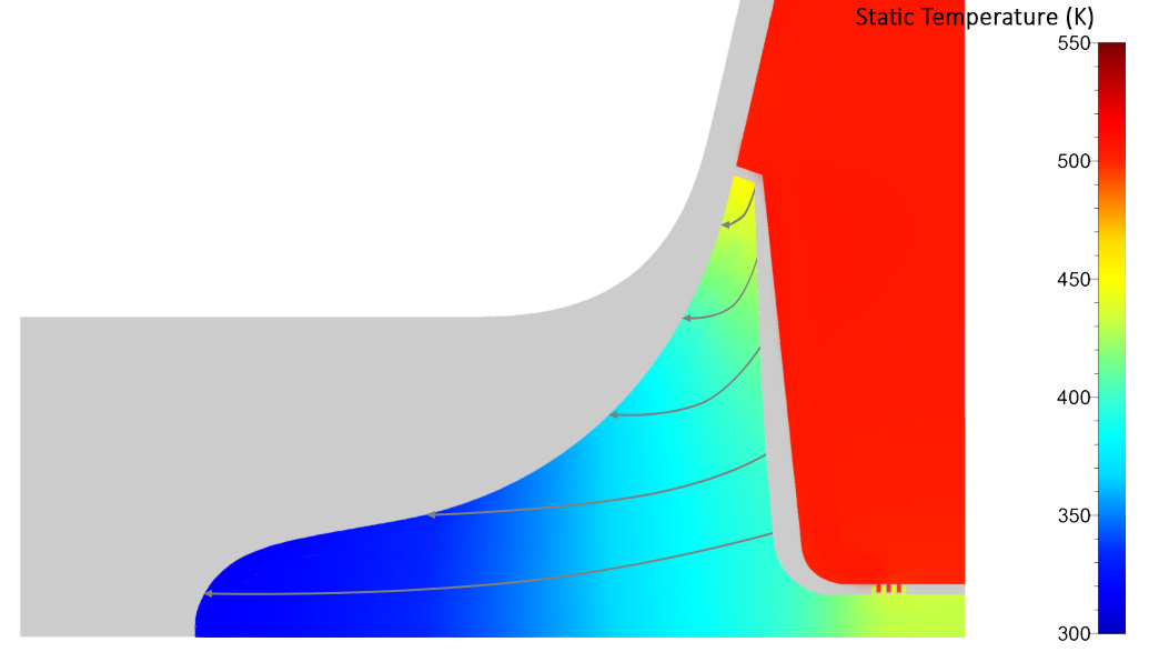 Meridional view of the temperature field in the solid domains showing the heat flux towards the bulb