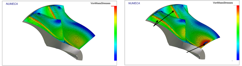 Figure7 Comparison Von Mises Stresses Original Design(left) And D1(right)