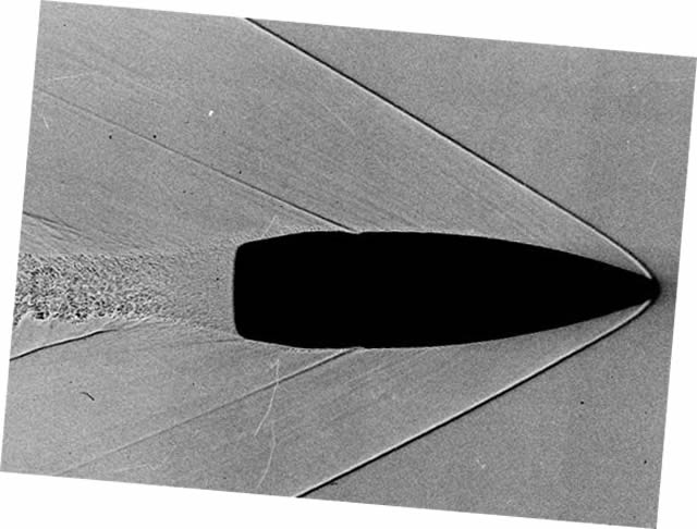 Figure 3: Schlieren Image Of Mach Cone Formed By A Bullet [7]