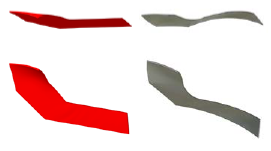 FIGURE 5: Comparison Of The Impeller Blade Shape Before Optimization (in Red) And After Optimization (in Grey).