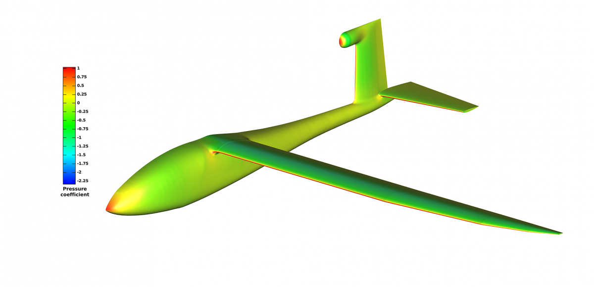Figure 4: Pressure coefficient on the surface of the aircraft