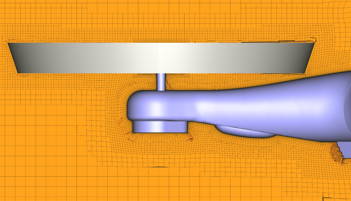 Rotating block (in grey) and volume mesh around the quadcopter airframe
