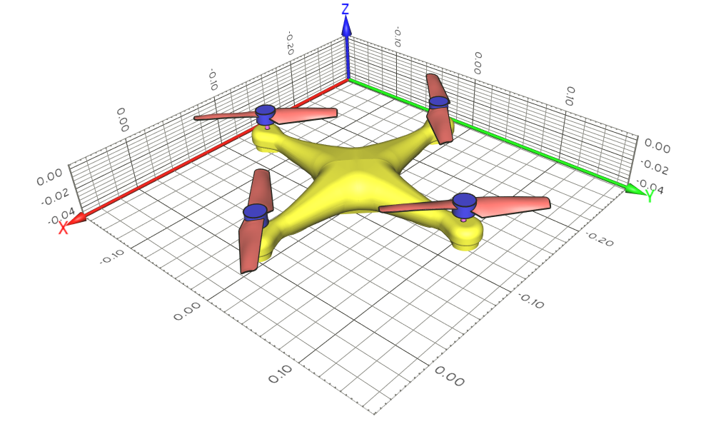 The considered drone geometry and its dimensions. The drone CAD files are provided by Mr. Monasor and Dr. Weerasinghe, University of the West of England.